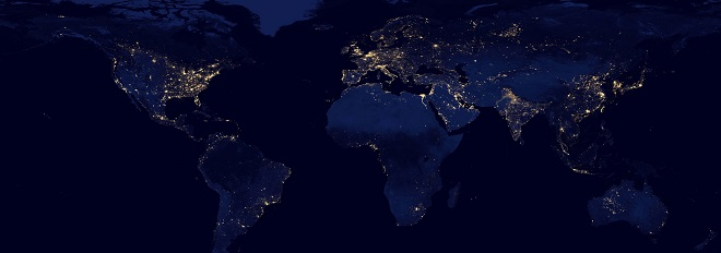 satellite view of earth at night